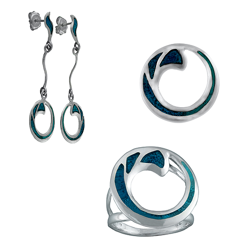 Silver Set with Enamel